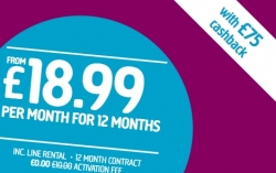 £75 Cashback with Plusnet Unlimited Broadband, £18.99 for 12 Months at Plusnet