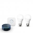 Amazon Echo Dot (2nd Gen) + Philips Hue Bridge + 2x Philips Hue White Smart Lights E27 Starter Set £59.99 at Amazon