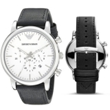Brand New Emporio Armani AR1807 46mm Chronograph White Dial Leather Men's Watch £99 @ eBay