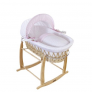 Clair De Lune Natural Wicker Moses Basket – Pink Stars And Stripes £60 @ Boots