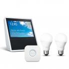 Echo Show, White + Philips Hue White Lighting Starter Kit (2 White Bulbs E27 + Hue Bridge) £214.99 at Amazon