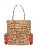 Mint Velvet Sandy Pom Pom Slouch Straw Tote Bag, Natural     £25.00  at John Lewis & Partners