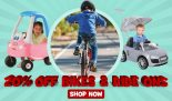 20% Off Bikes, Trikes, Scooters, Battery Operated Vehicles, Coupes, Ride ons and Bike Accessories at Toys R Us