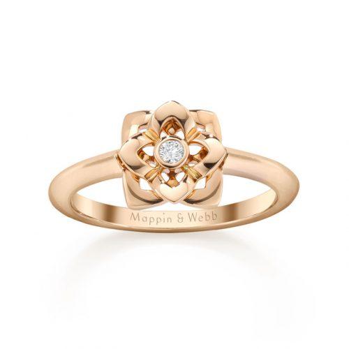 Mappin Webb Floresco Mini Ring With Single Diamond 500