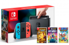 Nintendo Switch Neon Red – Neon Blue + Mario & Rabbids, Just Dance 18 + Rayman Legends £329.86 at ShopTo