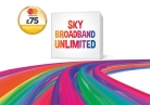 Unlimited Broadband + Line Rental & Sky Talk £18.99 p/m 12mths + £75 Prepaid MasterCard – Works out £14.40 p/m