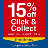 15% Off £100 Spend on Click & Collect Using Code @ Wickes